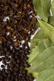 Bay leafs, cloves and black pepper Royalty Free Stock Image