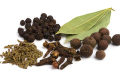 Bay leafs, cloves, caraway and black pepper Stock Photo