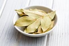 Bay leaves in ceramic bowl Royalty Free Stock Photo
