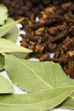 Bay leaves, cloves and black pepper Royalty Free Stock Photography