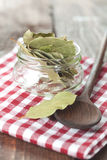 Bay Leaves In A Jar Stock Photo