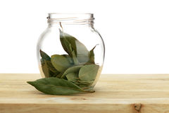Bay Leaves in Jar Stock Photo
