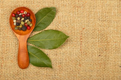 Bay leaves and peppercorn scoop on burlap canvas Stock Photo