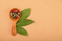 Bay leaves and peppercorn scoop on kraft paper Royalty Free Stock Photos