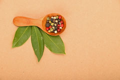Bay leaves and peppercorn scoop on kraft paper Royalty Free Stock Photography