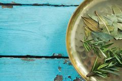 Bay leaves and rosemary in plate Stock Image