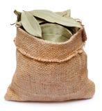 Bay leaves in sack bag Stock Image