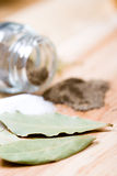 Bay leaves, salt and black pepper Royalty Free Stock Image