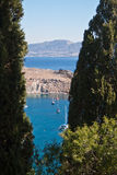 Bay in Lindos stock photography