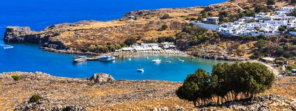 THE bay of lindos.photo taken from the hill before the village entrance royalty free stock photography