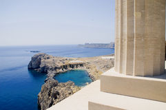 Bay of Lindos - Rhodes. View if the Bay of Lindos and Doric column Royalty Free Stock Photography