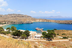 Bay in Lindos in Rhodes Stock Images