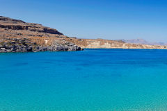 The bay of Lindos in Rhodes, Greece. Royalty Free Stock Image