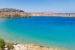 The bay of Lindos in Rhodes, Greece. Royalty Free Stock Images