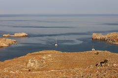 The Bay of Lindos, Rhodes, Greece Royalty Free Stock Photo
