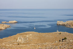 The Bay of Lindos, Rhodes, Greece Royalty Free Stock Photography