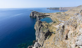 Bay of Lindos - Rhodes. St.Paul bay in Lindos city. Rhodes. Greece Stock Photography