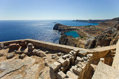 Bay of the Lindos town. Rhodes. Greece.  Stock Image
