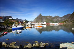 Bay in the lofoten. Islands with boats moored in the port Stock Photo