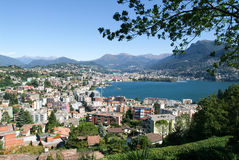 The bay of Lugano on Switzerland Royalty Free Stock Photography