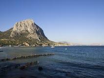 Bay with a marina and coastline Royalty Free Stock Photo