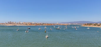 Bay of Marina Port of Portimao. With yachts. Bay of the Marina Port of Portimao. With yachts Royalty Free Stock Image