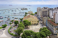 Bay and the market in Salvador. View from the upper city in Salvador for the Mercado Modelo and buildings around. Situated on the shores of the Bay of All Saints Stock Images
