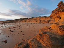 Bay of Martyrs beach and rock formation 1. The beach and rock formations of the Bay of Martyrs on Victoria's Great Ocean Road at sunset in winter Stock Photos