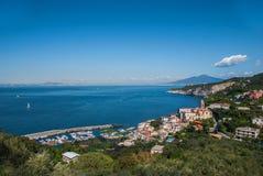 Bay Massa Lubrense village, from Sorrento peninsula, Italy. Landscape Massa Lubrense village, from Sorrento peninsula, Italy Stock Photos