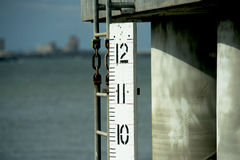 Bay Measure. Water level measure in Galveston Bay, Texas Stock Images