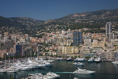 Bay of Monaco. A view over bay of Monaco and residential area Stock Photo