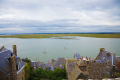 Bay of Mont St. Michel at high tide Royalty Free Stock Images