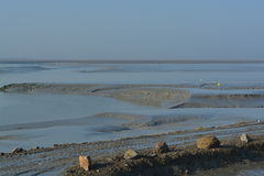 The Bay of Mont St Michel at low tide Royalty Free Stock Photo