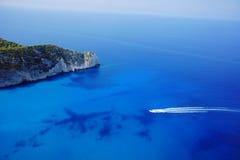 Bay with motorboat on Zakynthos island Royalty Free Stock Photo