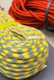 Bay of multicolored climbing rope for climbing. Royalty Free Stock Photography