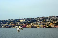 Bay of naples italy. Houses and shipping on the bay of naples italy Royalty Free Stock Photo