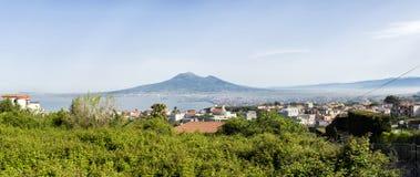 Bay of Naples and Mount Vesuvius. Panoramic view the Bay of Naples and Mount Vesuvius stock image