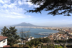Bay of Naples and Mount Vesuvius. Naples panoramic view shot from Sorrento stock photography