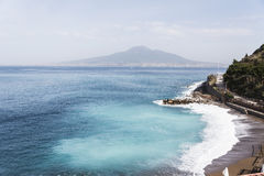 Bay of Naples and Mount Vesuvius. Naples panoramic view shot from Sorrento royalty free stock photography