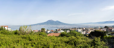 Bay of Naples and Mount Vesuvius. Naples panoramic view shot from Sorrento royalty free stock photos