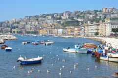 Small fishing boats in the port of Naples. royalty free stock images