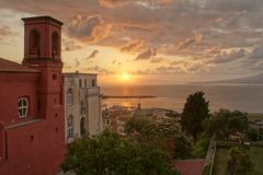 Bay of Naples. Sunset. View from Castellammare di Stabiae Royalty Free Stock Images