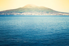 Bay of Naples and Vesuvius. Castellammare di Stabia with the Gulf of Naples. Composition with multiple photographs of the Gulf of Naples and Mount Vesuvius with Stock Photo