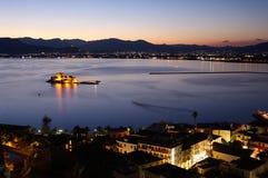 Bay of Nauplia by night Stock Photography
