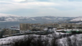 Bay near the city of Murmansk and ships pun stock video footage