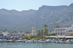Bay nearby Spinalonga island in Greece. Oldtown and bay area nearby the historical Spinalonga island in Greece Stock Images
