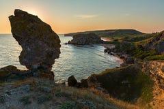 Bay Nefertiti at dawn. Karalar regional landscape park in Crimea. Royalty Free Stock Photography