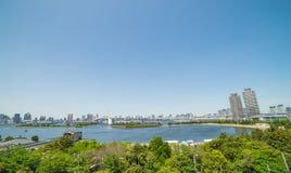 Bay of Odaiba and Tokyo across rainbow bridge Stock Images