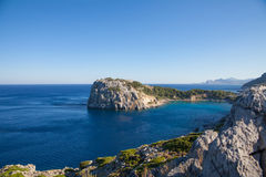 Bay off the coast of Lindos on Rhodes island, Greece. Royalty Free Stock Image