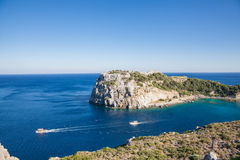 Bay off the coast of Lindos on Rhodes island, Greece. Royalty Free Stock Photo